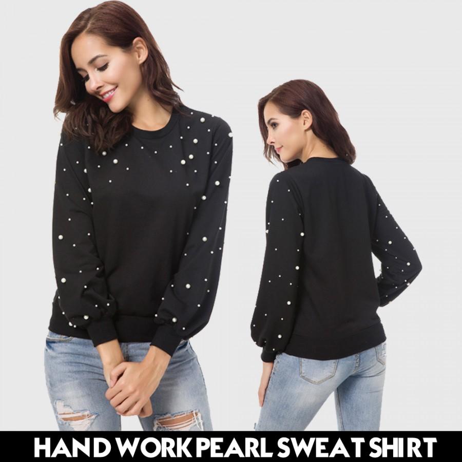 HAND WORK PEARL SWEAT SHIRTS ( BLACK )