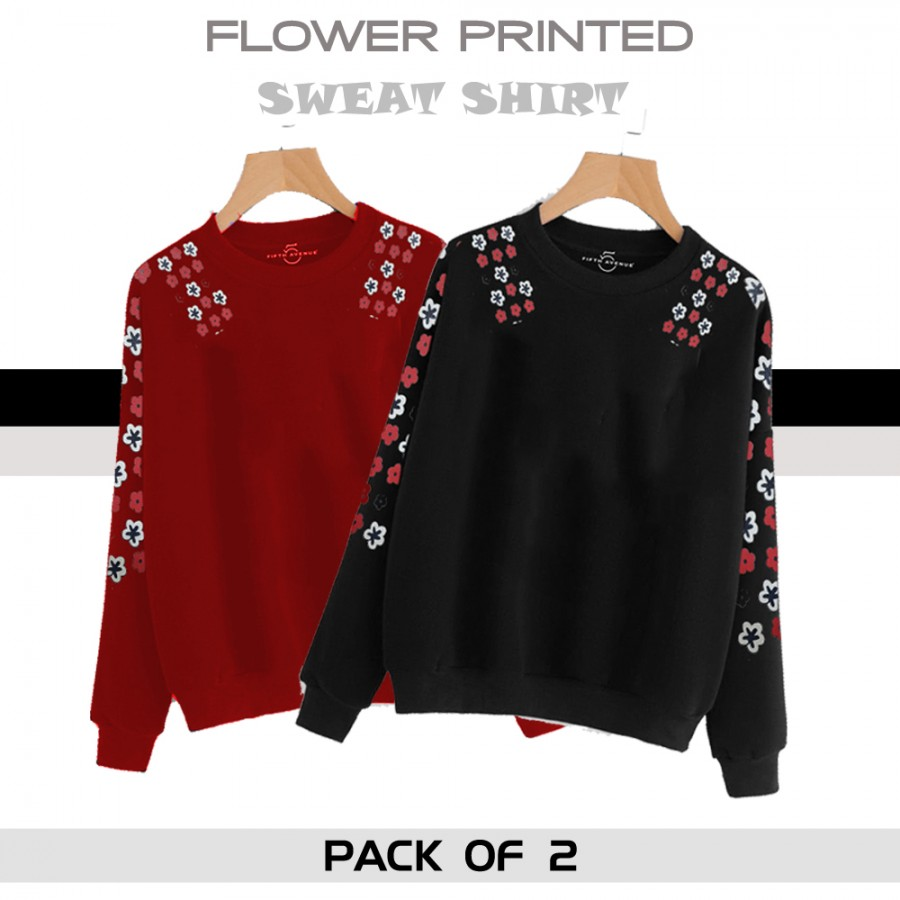 Pack of 2 FLOWER PRINTED SWEAT SHIRT