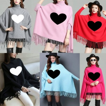 Pack of 2 Heart Printed Poncho