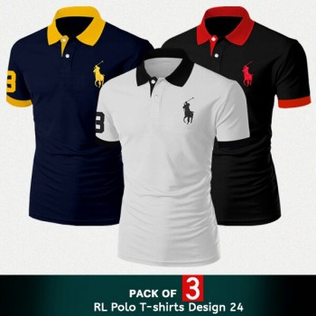 Pack of 3 RL Polo T-Shirts - Design 24