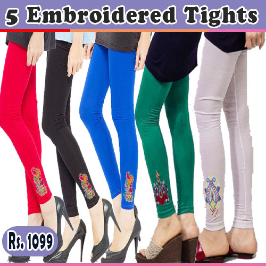 Pack of 5 Embroidered Tights