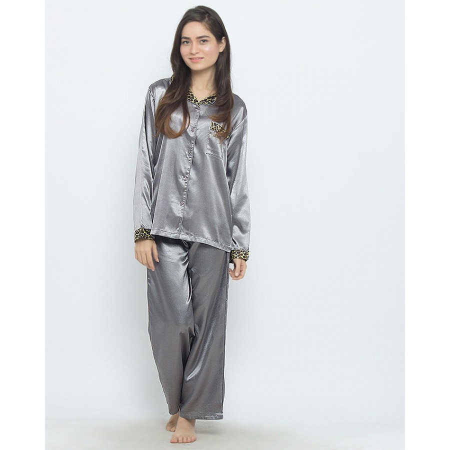 Valerie Ivory Solid Polyester Pajama Set For Women