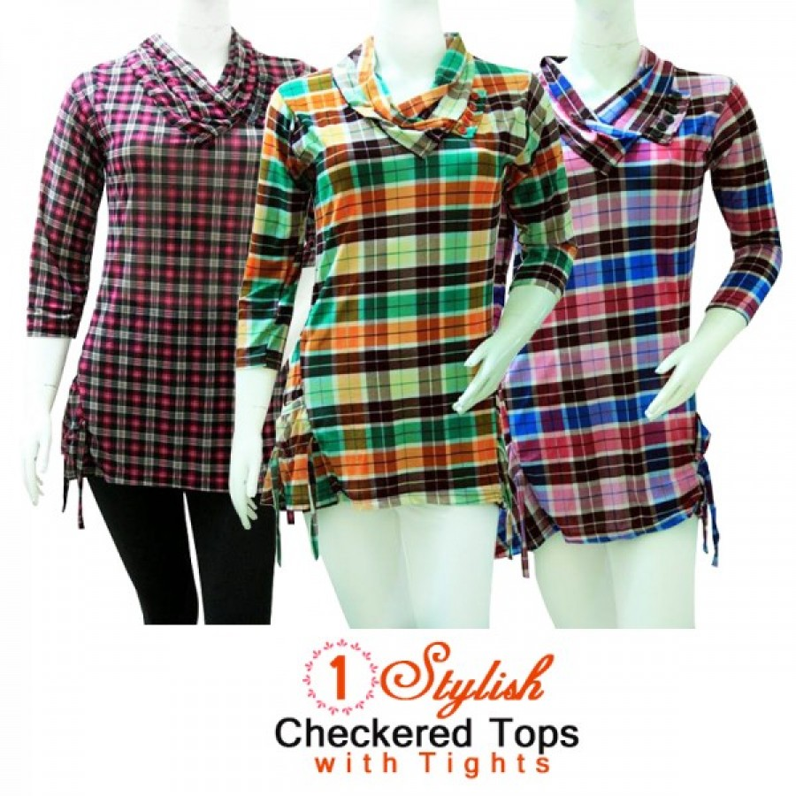 1 Stylish Checkered Tops with Tights